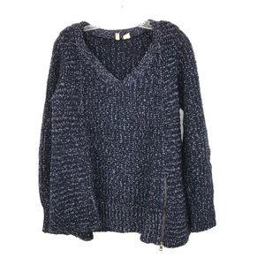 Anthropologie Moth Knit V-Neck Sweater Zipper Blue